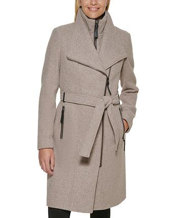 Пальто с запахом и поясом с отделкой из искусственной кожи, созданное для Macy's Calvin Klein