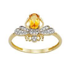 Золото 10 карат 1/6 карата T.W. Кольцо в виде пчелы с бриллиантом и цитрином Tiara