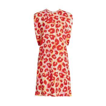 Платье прямого кроя с леопардовым принтом MARNI