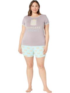 Пижамный комплект большого размера с короткими рукавами и шортами KicKee Pants