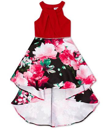 Big Girls High Neck Floral Hi-Low Dress Speechless