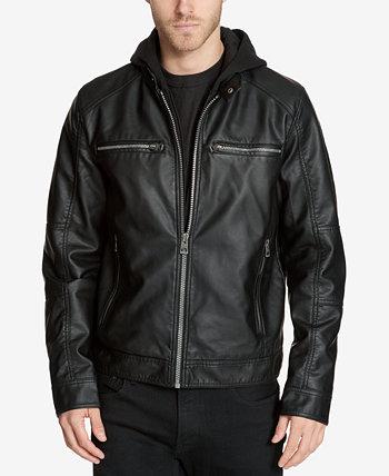Мужская куртка из искусственной кожи со съемным капюшоном GUESS