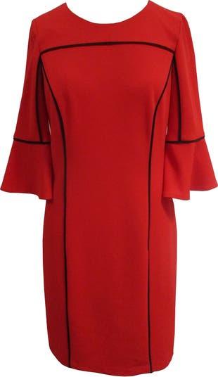 Платье-футляр с короткими рукавами 3/4 с окантовкой Sandra Darren