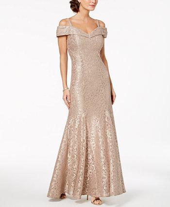 Миниатюрное кружевное платье с открытыми плечами R & M Richards