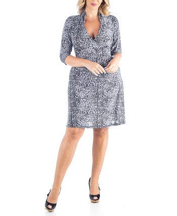 Женское платье трапециевидной формы с леопардовым принтом больших размеров 24seven Comfort Apparel