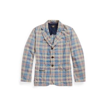 Тканое спортивное пальто в клетку индиго Ralph Lauren