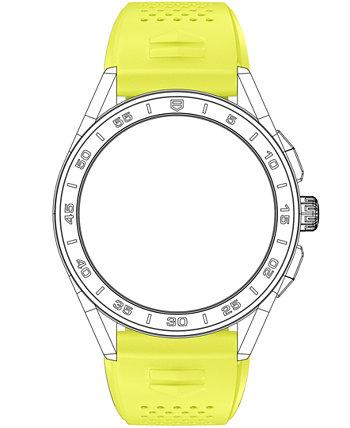 Мужской ремешок для смарт-часов Connected Lime Yellow с резиновым покрытием TAG Heuer