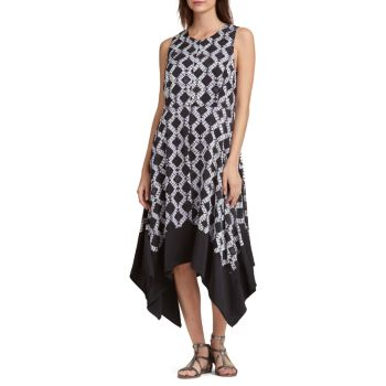 Платье-трапеция с геометрическим рисунком Donna Karan