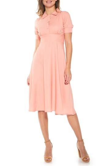 Миди-платье с принтом и расстегнутым воротником ALEXIA ADMOR