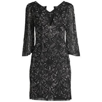 Платье-трапеция с бусинами Aidan Mattox