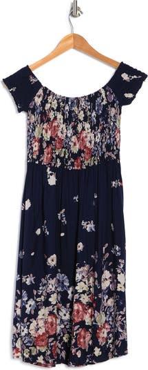 Платье со сборками и открытыми плечами с цветочным рисунком Papillon