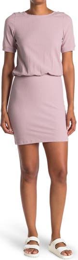 Трикотажное платье с короткими рукавами в рубчик Wishlist