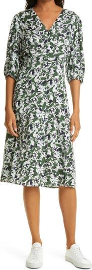 Платье из эластичного шелка с пуговицами спереди Nordstrom Signature