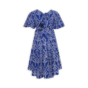 Многоярусное платье с принтом Boho и завязками на спине для девочек Bardot Junior