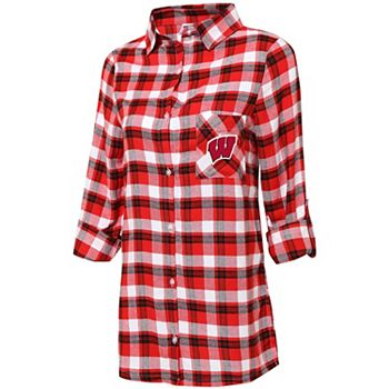 Women's Concepts Sport Red/Black Wisconsin Badgers Plus Size Piedmont Flannel Long Sleeve Button-Up Nightshirt Unbranded