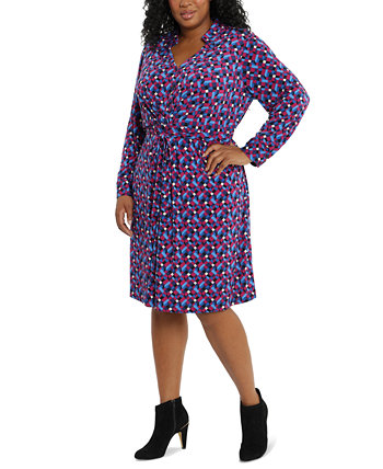 Plus Size Printed Collared Jersey Dress London Times