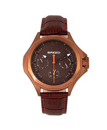 Часы из натуральной кожи Quartz Tempe Brown And Bronze 43mm Breed