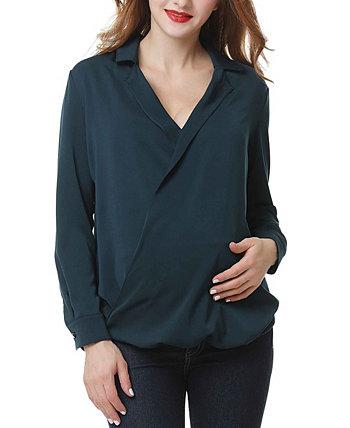 Брук сурплис драпировка передняя блузка для беременных Kimi + kai