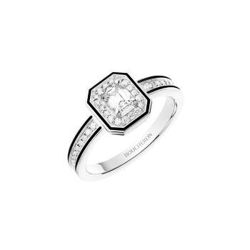 Vendôme Liseré, белое золото 18 карат, бриллианты и усилители; Черное лаковое кольцо Boucheron