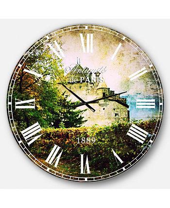 Пейзаж негабаритные круглые металлические настенные часы Designart
