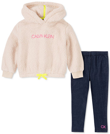 Baby Girls 2-Pc. Комплект из флисового худи и брюк Calvin Klein