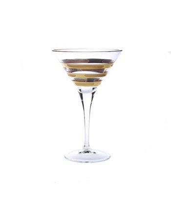 Бокал для мартини с изображением кирпича из золота 585 пробы, набор из 4 шт. Classic Touch