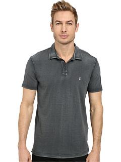 Рубашка-поло с мягким воротником, контрастной строчкой и вышивкой на груди со знаком мира John Varvatos Star U.S.A.