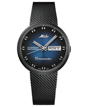 Мужские швейцарские автоматические часы Commander Shade с черным PVD-покрытием из нержавеющей стали с сетчатым браслетом, 37 мм MIDO