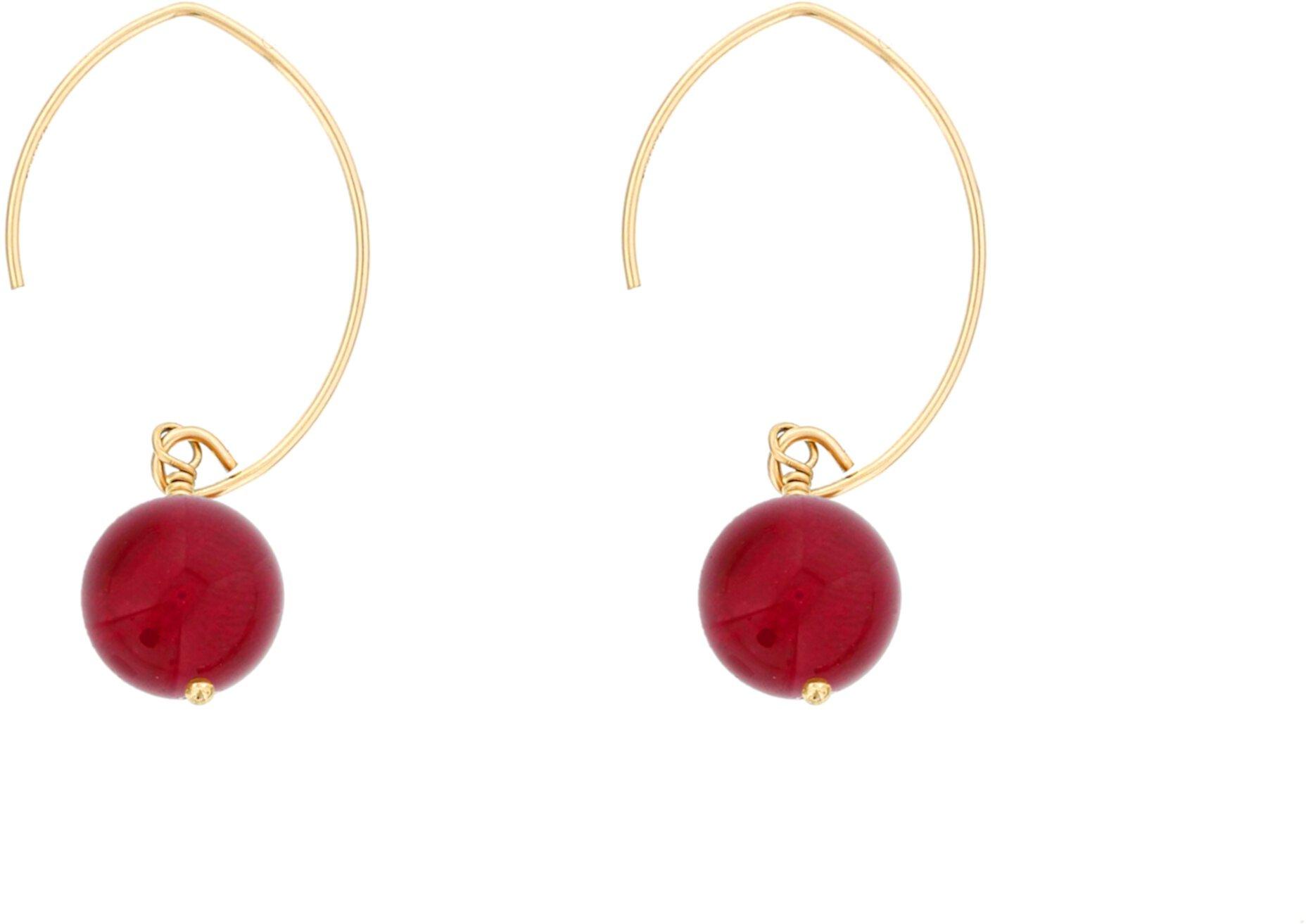 Серьги-крючки с драгоценными камнями Рубиновый агат Dee Berkley