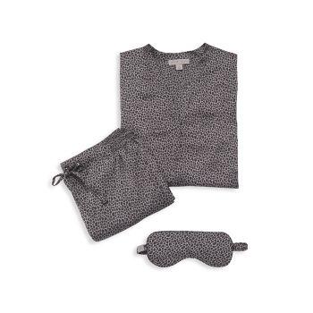 Пижамный комплект из трех предметов из потертого атласа Barefoot Dreams