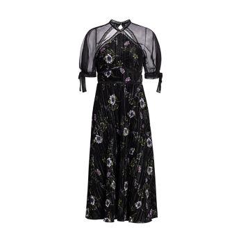 Бархатное платье миди с короткими рукавами и цветочным принтом ML Monique Lhuillier