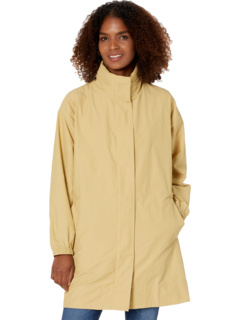 Stand Collar Cotton Nylon Long Coat with Hidden Hood Eileen Fisher