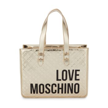 Стеганая сумка-тоут с металлическим логотипом LOVE Moschino