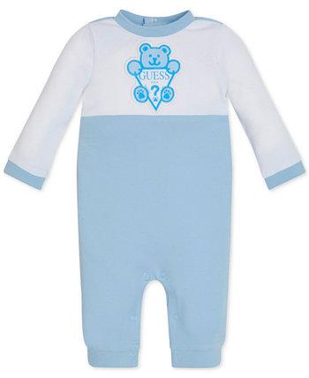 Хлопковый комбинезон с цветными блоками и логотипом для маленьких мальчиков и девочек GUESS