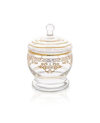 Стеклянная банка с крышкой с богатым орнаментом в золотых тонах Classic Touch