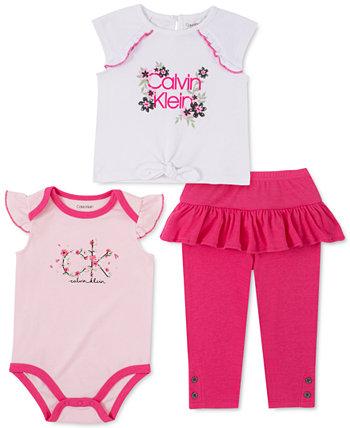 Baby Girls 3-Pc. Футболка с завязками спереди, боди и леггинсы с оборками Calvin Klein