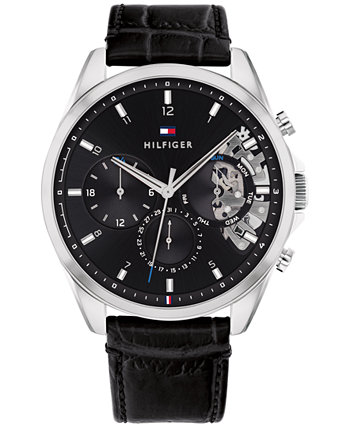 Мужские часы-хронограф с черным кожаным ремешком, 44 мм, созданы для Macy's Tommy Hilfiger
