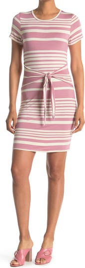 Платье в полоску с круглым вырезом и завязками на талии Papillon