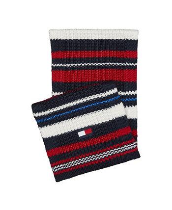 Мужской массивный шарф в разноцветную полоску Tommy Hilfiger