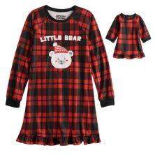 Клетчатое ночное платье с медведем и кукольное платье Jammies For Your Families® для девочек 4–16 лет от Cuddl Duds® Cuddl Duds