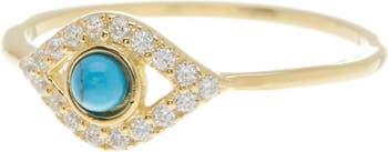 Кольцо с дурным глазом и украшением из желтого золота 585 пробы с вермеилом, бирюзой и кристаллами Swarovski ADORNIA