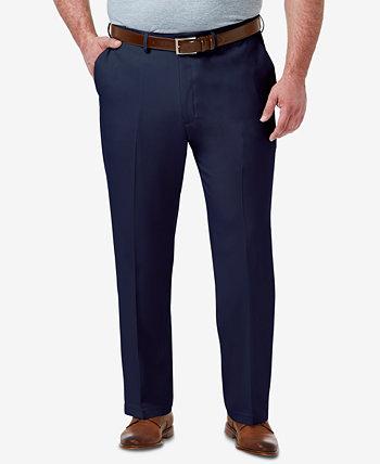 Мужские большие и высокие эластичные классические брюки спереди на плоской подошве класса премиум Comfort HAGGAR
