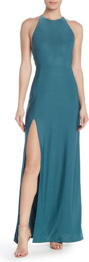 Облегающее длинное платье с ремешками и высоким разрезом Love by Design