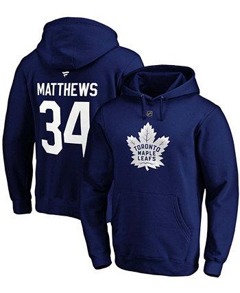 Мужская толстовка с капюшоном Auston Matthews Blue Toronto Maple Leafs Authentic Stack с именем и номером игрока Fanatics