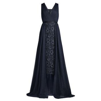 Кружевное платье миди с драпировкой и накладкой Aidan Mattox