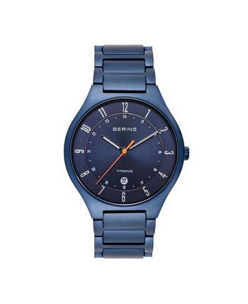 Мужские синие титановые часы-браслет 39 мм Bering
