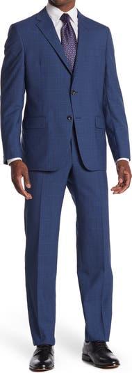 Синий шерстяной костюм стандартного кроя с воротником-стойкой и двумя пуговицами в шотландскую клетку Hickey Freeman