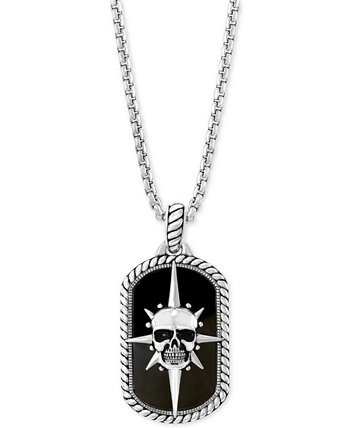 EFFY® Мужская Оникс (27 х 16 мм) Череп Dog Tag 22-дюймовая подвеска из стерлингового серебра EFFY Collection