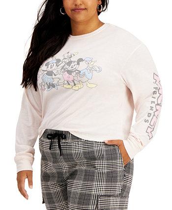 Топ больших размеров Mickey & Friends с трафаретным принтом Love Tribe