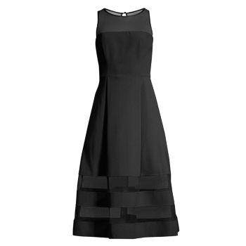 Подгонка деталей сетки & amp; Платье-клеш Aidan Mattox